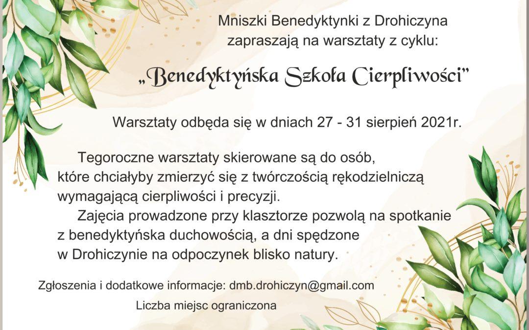 Benedyktyńska Szkoła Cierpliwości – zaproszenie na warsztaty